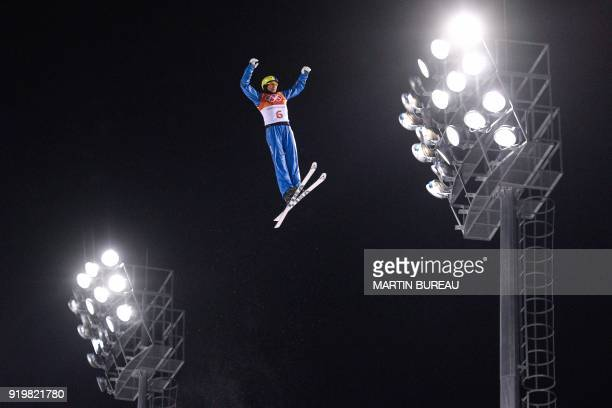 Ukraine's Oleksandr Abramenko competes in the men's aerials final 1 during the Pyeongchang 2018 Winter Olympic Games at the Phoenix Park in...