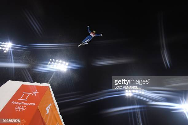 TOPSHOT Ukraine's Oleksandr Abramenko trains prior to the men's aerials final during the Pyeongchang 2018 Winter Olympic Games at the Phoenix Park in...