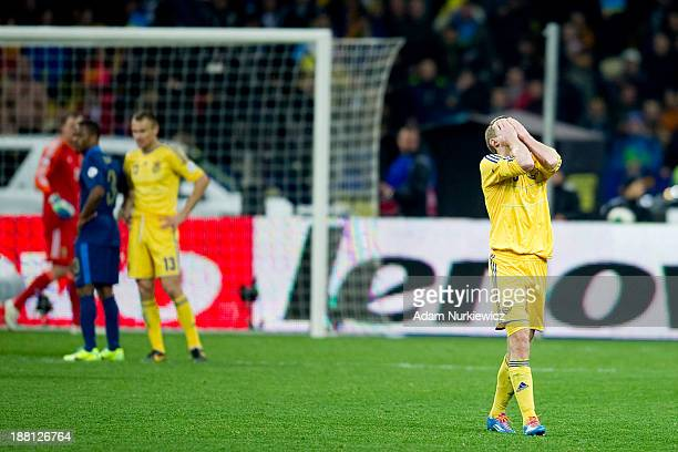 Ukraine's Oleksandr Kucher reacts during the FIFA 2014 World Cup Qualifier Playoff First Leg soccer match between Ukraine and France at the Olympic...