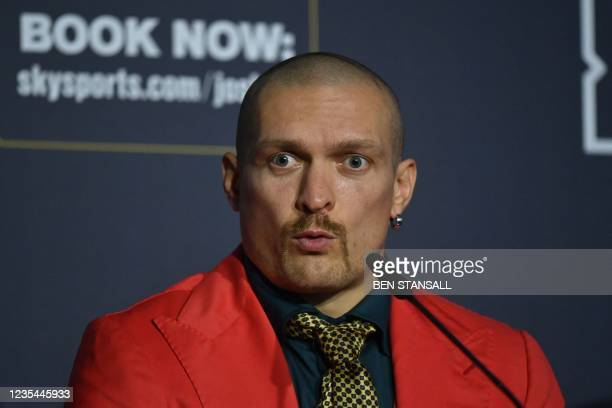 Ukraine's Oleksandr Usyk attends a press conference at Tottenham Hotspur Stadium in London on September 23 ahead of his fight with British...
