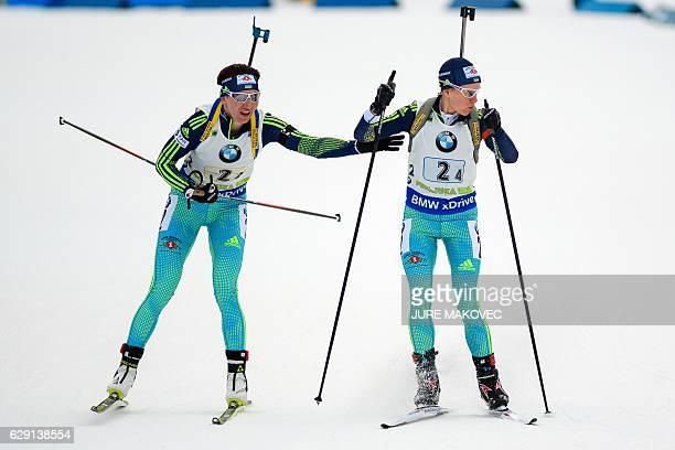 Ukraine's Olena Pidhrushna hands over to Anastasiya Merkushyna during the Women's 4x6 km relay race of the IBU Biathlon World Cup in Pokljuka...