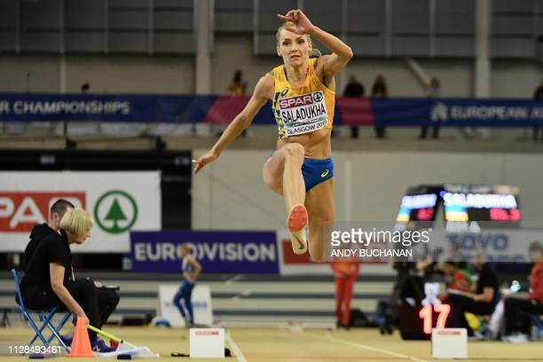 Ukraine's Olha Saladukha competes in the womens triple jump final at the 2019 European Athletics Indoor Championships in Glasgow on March 3 2019