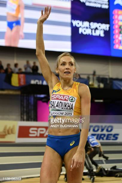 Ukraine's Olha Saladukha reacts as she competes in the womens triple jump final at the 2019 European Athletics Indoor Championships in Glasgow on...