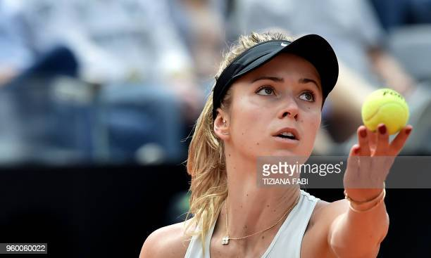 Ukraine's player Elina Svitolina serves to Estonia's Anett Kontaveit during Rome's WTA Tennis Open tournament at the Foro Italico on May 19 2018 in...
