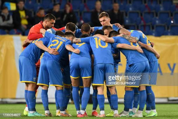 Ukraine's players before the friendly football match Ukraine v Northern Ireland in Dnipro on June 3 in preparation for the UEFA European Championship.