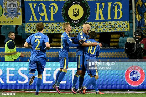 Ukraine's players celebrate after scoring a goal during the 2018 World Cup football qualifying match between Ukraine and Finland at Chernomorets...