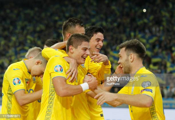 Ukraine's players celebrate after scoring a goal during the UEFA Euro 2020 Qualifier - Group B soccer match Ukraine v Portugal, at the Olimpiyskiy...