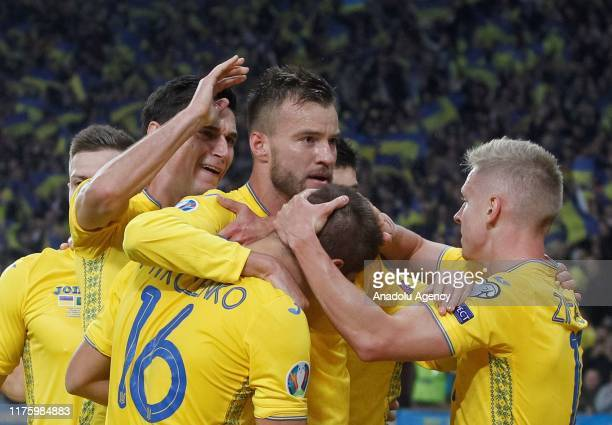 Ukraine's players celebrate goal during the UEFA EURO 2020 qualifier Group B soccer match between Ukraine and Portugal in Kiev Ukraine on October 14...