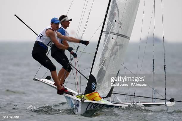 Ukraine's Rodion Luka and Georgii Leonchuk during the Men's 49er Opening Series at the 2008 Beijing Olympic Games' Sailing Centre in Qingdao, China.