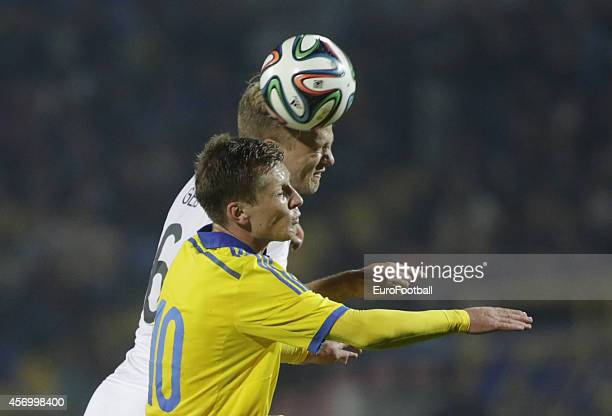 Ukraine's Ruslan Babenko in action against Moritz Leitner of Germany during the UEFA U21 Championship First Leg Playoff between Ukraine and Germany...