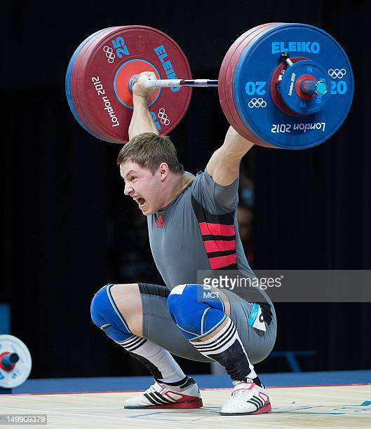 Ukraine's Sergiy Tagirov lifts 174 kg during the snatch portion of the Men's 105 kg Weightlifting competition at the ExCeL centre during the 2012...