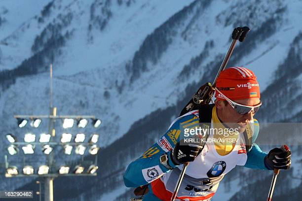 Ukraine's Serhiy Semenov competes during the Men's 20 km Individual race of the IBU World Cup Biathlon at Laura Cross Country and Biathlon Center in...