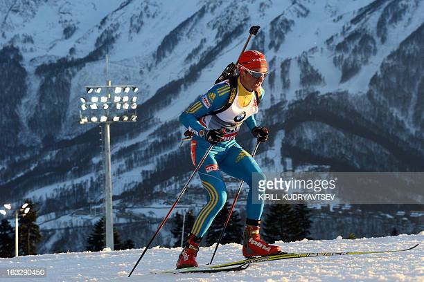Ukraine's Serhiy Semenov competes during the Men's 20 km Individual race during the IBU World Cup Biathlon at Laura Cross Country and Biathlon Center...
