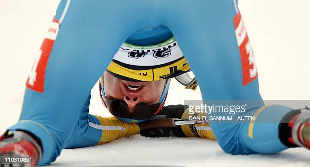 Ukraine's Serhiy Semenov reacts as he crosses the finish line of the men's 10 km sprint event of the IBU biathlon World Cup in Oslo on March 17 2011...