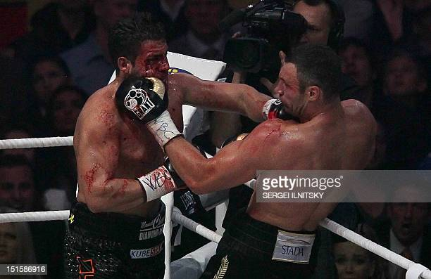 Ukraine's twotime World Heavyweight champion Vitali Klitschko fights for the defense of his WBC heavyweight title against Germany's Manuel Charr in...
