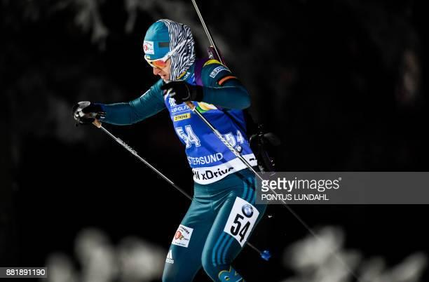 Ukraine´s Valj Semerenko competes during the women 15 km individual event at the IBU World Cup Biathlon in Ostersund Sweden on November 29 2017 / AFP...