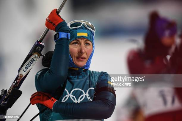 Ukraine's Valj Semerenko competes in the women's 75 km sprint biathlon event during the Pyeongchang 2018 Winter Olympic Games on February 10 in...