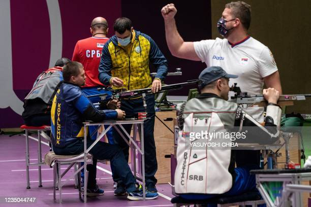 Ukraine's Vasyl Kovalchuk competes during the final of the shooting R9 mixed 50m rifle prone of the Tokyo 2020 Paralympic Games at Asaka Shooting...