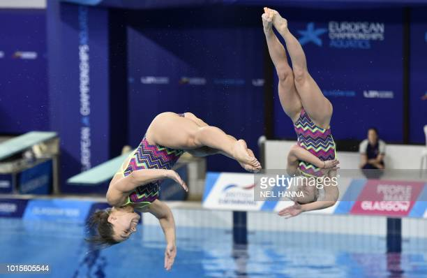 Ukraine's Viktoriya Kesar and Anna Pysmenska compete in the Women's 3m synchro diving final at the Royal Commonwealth pool during the 2018 European...