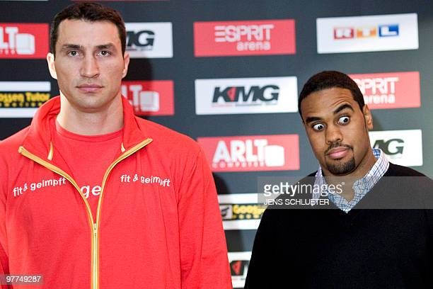 Ukraine's Vladimir Klitschko and USA's Eddie Chambers pose during their press conference on March 15 2010 in Duesseldorf ahead of their ahead of...