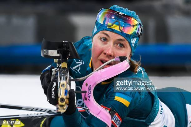 Ukraine's Yuliia Dzhima competes in the women's 15km individual biathlon event at the Alpensia biathlon center during the Pyeongchang 2018 Winter...