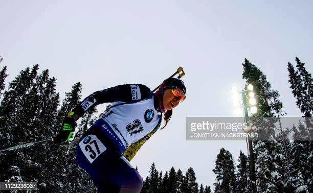 Ukraine's Yuliia Dzhima competes in the women's 75 km sprint event at the IBU Biathlon World Championships in Ostersund Sweden on March 8 2019