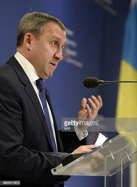Ukrainian acting foreign minister Andrii Deshchytsia holds a press conference in The Hague on March 24 2014 on the first day of the twoday Nuclear...
