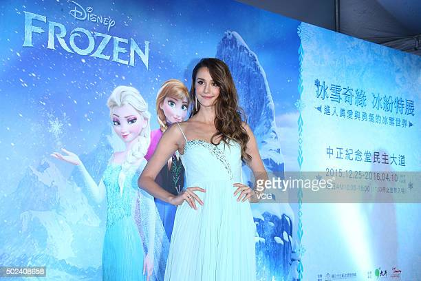 Ukrainian actress and model Larisa Bakurova attends the promotion of Disney animated film 'Frozen' exhibition on December 24 2015 in Taipei Taiwan of...