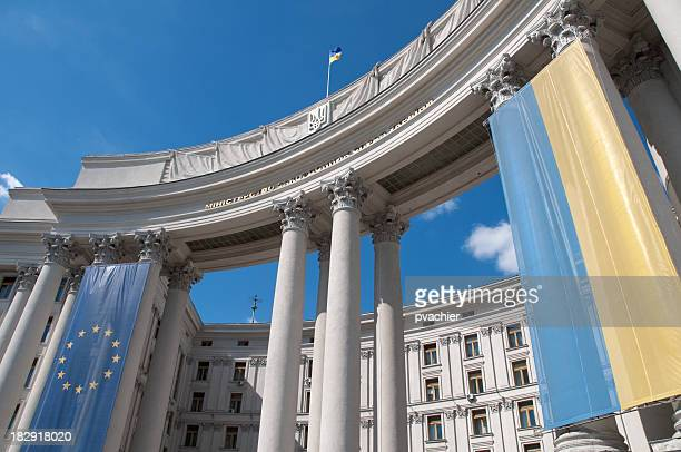 Ukrainian and EU flag on Kiev Ministry of Foreign Affairs
