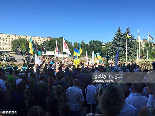Ukrainian armed forces hold a rally marking the first anniversary of liberation from Russian-aligned separatist forces in Slavyansk in the Donetsk...