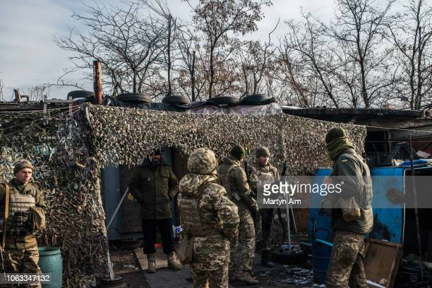 Ukrainian Army soldiers at a frontline position in Pisky one of the most dangerous in the hostilities between Ukrainian forces and proRussian...