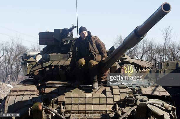 Ukrainian army soldiers deploy in rebelheld Maersk village Horlivka town Donetsk province of eastern Ukraine on February 24 2015 although the the...