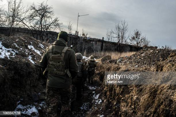 Ukrainian Army soldiers in a frontline trench in Pisky one of the most dangerous in the hostilities between Ukrainian forces and proRussian...