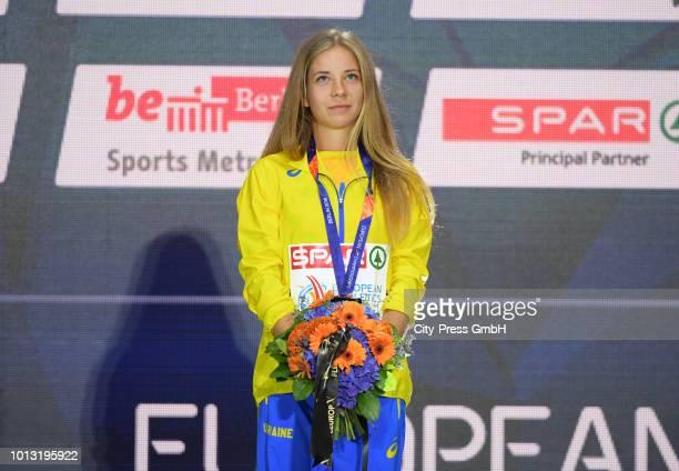 Ukrainian athlete Alina Tsviliy during the winner ceremony of the men's and women's 50km final race at the European Athletics Championships Berlin...