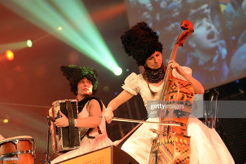 Ukrainian band DakhaBrakha performs on stage during the 35th Transmusicales music festival on December 8, 2013 in Rennes, western France.