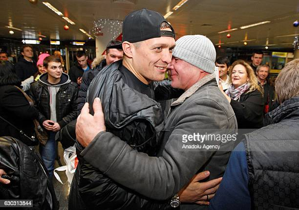 Ukrainian boxer Oleksandr Usyk arrives at the International airport Borispol of Kiev Ukraine on December 20 2016 Oleksandr Usyk won the WBO...