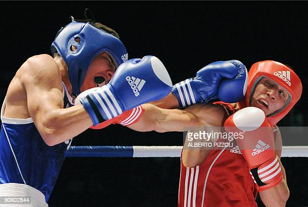 Ukrainian boxer Vasyl Lomachenko and Mexican boxer Oscar Valdez fights during their 57kg semifinal of the AIBA World Boxing Cup in Assago near Milan...