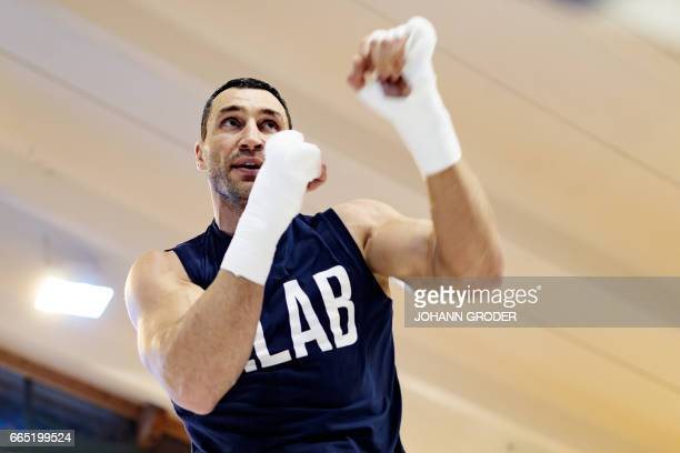 Ukrainian boxer Wladimir Klitschko during a media training session on April 6 2017 at the Biohotel Stanglwirt Going Austria as he prepares for the...