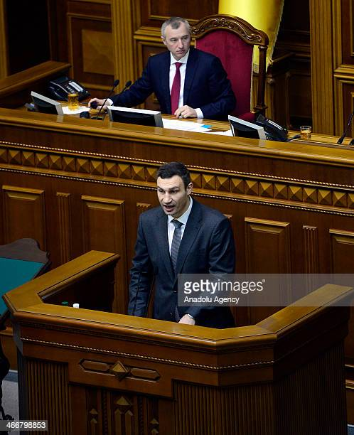 Ukrainian chairman of the Ukrainian opposition party Vitali Klitschko speaks during a parliament session in Kiev Ukraine on February 4 2014 Awaiting...
