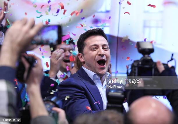 Ukrainian comedian and presidential candidate Volodymyr Zelenskiy smiles after the second round of presidential elections in Kiev Ukraine Sunday...