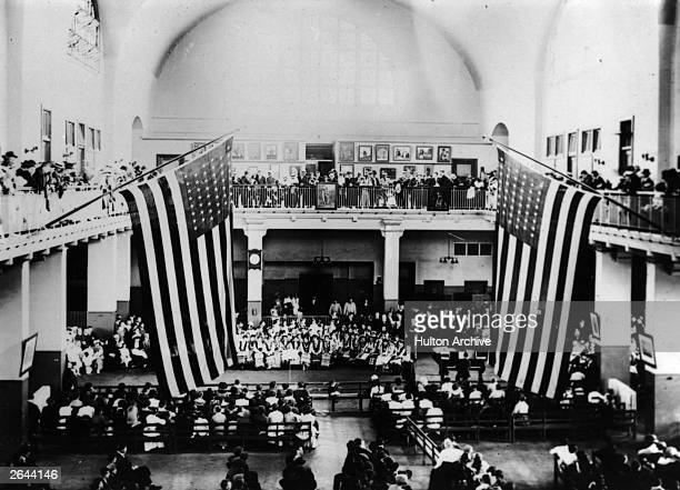 Ukrainian concert held at Ellis Island, New York, by Russian immigrants to the United States.