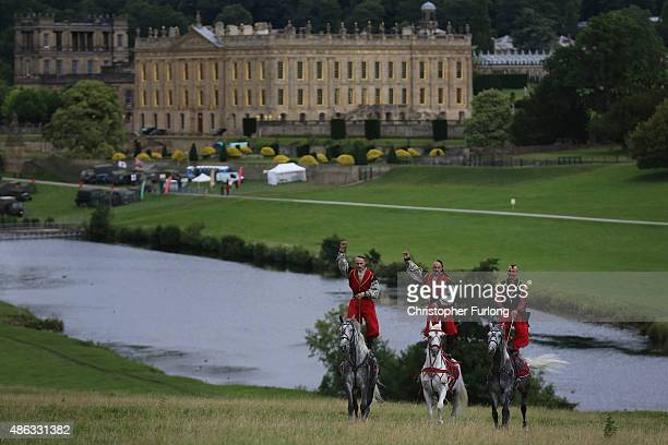 Ukrainian Cossacks rehearse their stunts as they arrive at Chatsworth House on September 3 2015 in Chatsworth England The Ukrainian Cossack Stunt...