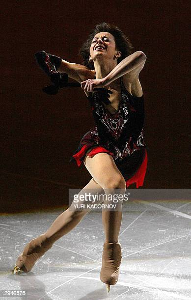 Ukrainian Elena Liashenko performs her programme during the Gala exhibition at the 2004 European figure skating championships in Budapest 08 February...
