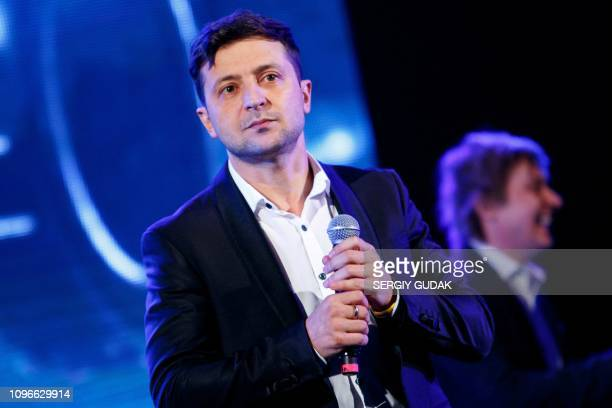 Ukrainian entertainer and presidential candidate Volodymyr Zelensky is seen on stage in western Ukrainian city of Uzhhorod on February 9 2019 Around...