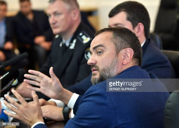 Ukrainian Football Federation head Andriy Pavelko gestures as he speaks during a press conference in Kiev on May 22 2018 Ukraine has accused 35...