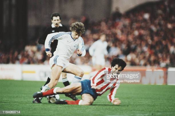 Ukrainian footballer Oleksandr Zavarov of FC Dynamo Kiev , pictured in action with the ball during the 1986 European Cup Winners' Cup final between...