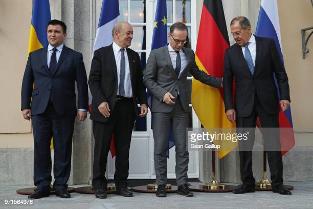 Ukrainian Foreign Minister Pavlo Klimkin French Foreign Minister JeanYves Le Drian German Foreign Minister Heiko Maas and Russian Foreign Minister...