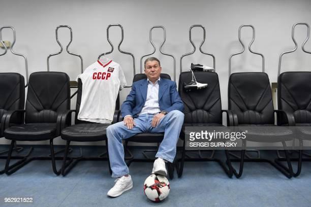 Ukrainian former football star player Oleh Blokhin poses in the changing room of FC Dynamo Kiev football club in Kiev on April 30 2018