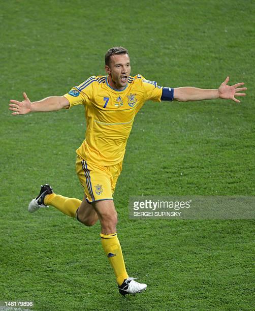 Ukrainian forward Andriy Shevchenko celebrates after scoring a goal during the Euro 2012 championships football match Ukraine vs Sweden on June 11...