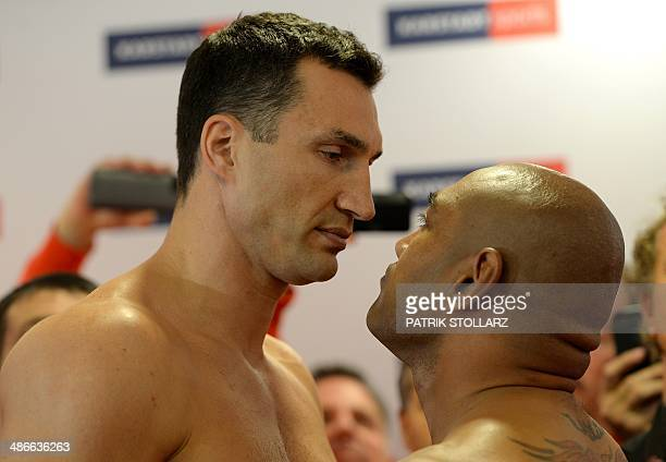 Ukrainian heavyweight boxing world champion Wladimir Klitschko faces his Australian challenger Alex Leapai during the official weighin on April 25...